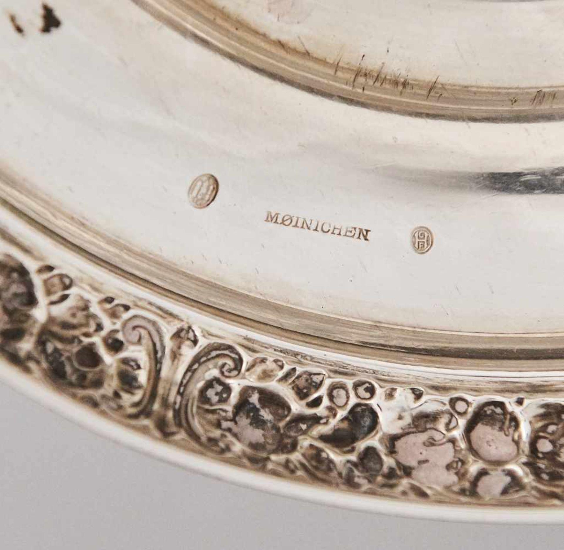 Los 69 - Große Aufsatzschale Silber DänemarkStempel, Moinichen Silberschmied und dänische Stempel, Dellen und