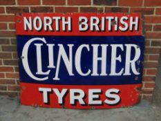 Large North British Clincher Tyres Vintage Enamel Sign