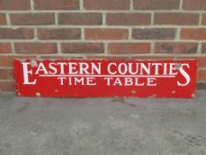 Eastern Counties Time Table Vintage Enamel Sign