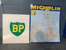 Michelin Tyres tin map sign and a BP sign