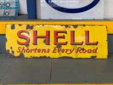 SHELL 'Shortens Every Road' vintage enamel sign