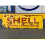 SHELL 'Shortens Every Road' vintage enamel sign