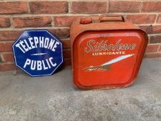 Silkolene Lubricants 5 gallon 'Concord' oil can & telephone sign