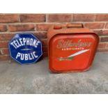Silkolene Lubricants 5 gallon 'Concord' oil can & telephone sign
