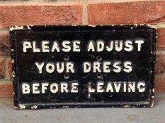 Original Victorian Please Adjust Your Dress Before Leaving Cast Sign