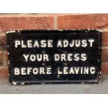 Original Victorian Please Adjust Your Dress Before Leaving Cast Sign