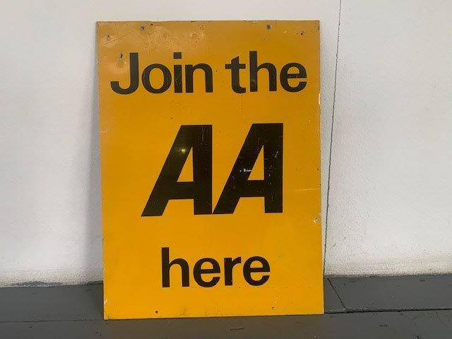 Join the AA here metal sign