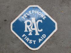 Original RAC Telephone First Aid Enamel Sign