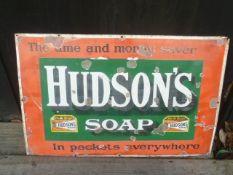 Hudson Soap Vintage Enamel Sign