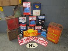 Large quantity of oil cans, fuel cans, Large Carburol Super Can and Rally Plaques