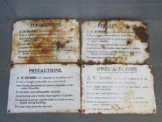 4 x AW Bombs Enamel Warning Signs