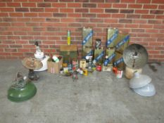 A Large Collection of Assorted Cans, Tins and Vintage Lamps