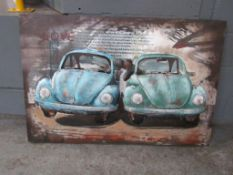 VW Beetle 3D Wall Art in Metal