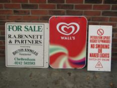3 Classic Signs, Walls Ice Cream, Estate Agent For Sale Board, No Smoking