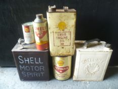 Mixed Lot Of Shell Petrol, Oil and Grease Tins