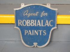 Vintage Cast Aluminium Robbialac Paints Double Sided Sign