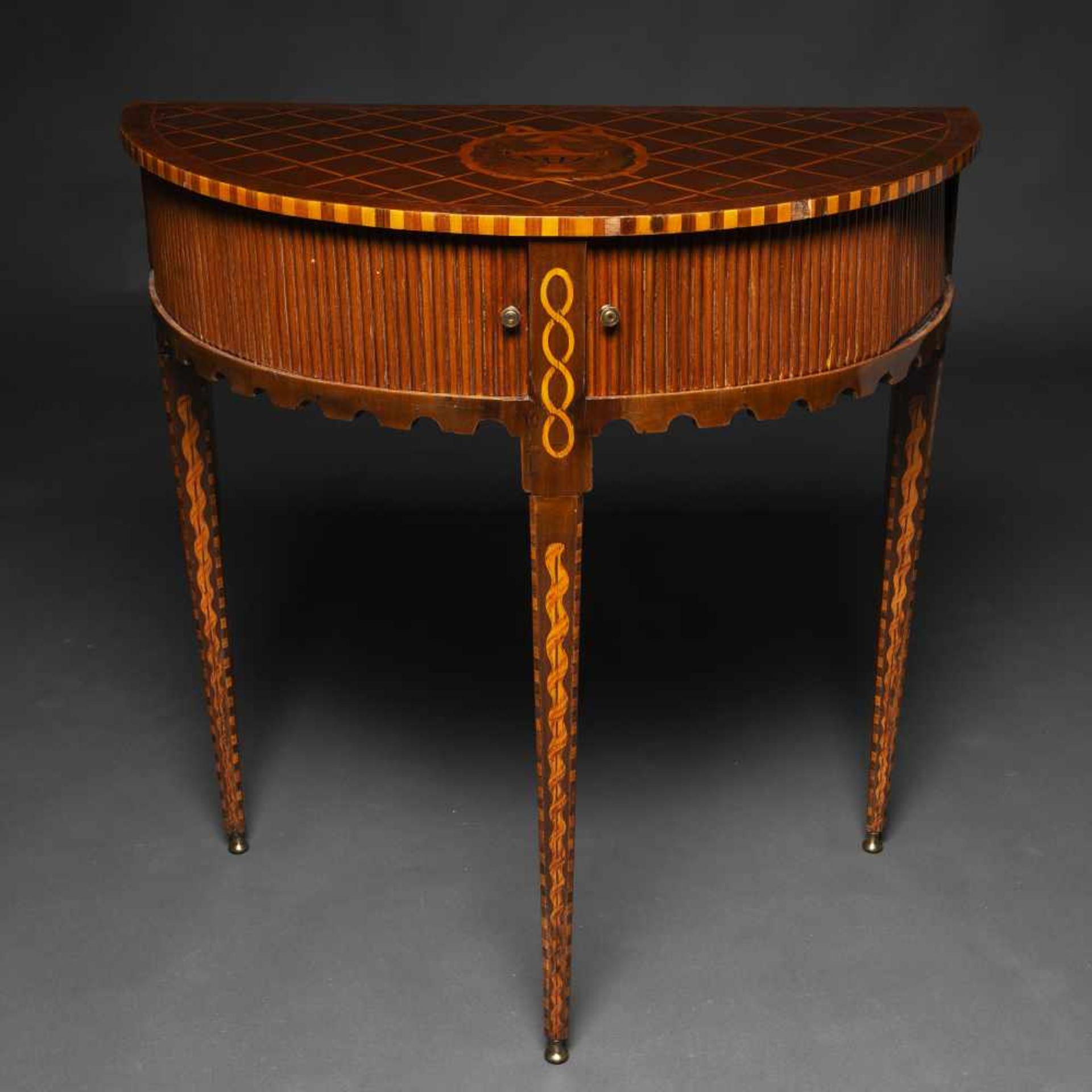 Los 11 - Mueble de persiana cilíndrico época Neoclásica en madera de caoba con marquetería. Siglo...
