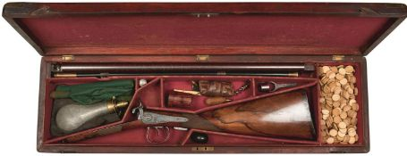 A GOOD CASED 11-BORE DOUBLE BARRELLED BRUSH OR HOWDAH GUN BY HOLLIS, 24inch sighted damascus barrels
