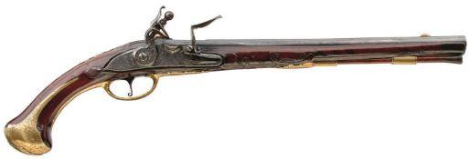 AN 18TH CENTURY 22-BORE AUSTRIAN FLINTLOCK HOLSTER PISTOL, 14inch sighted tapering barrel signed