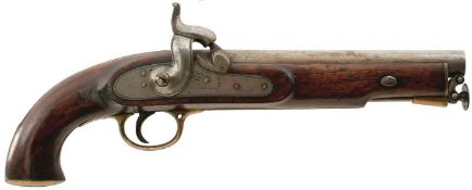 A RARE .753 CALIBRE PATTERN 1842 LANCER'S PISTOL TO THE 16TH LANCERS, 9inch barrel stamped with