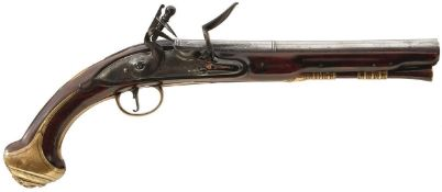 A PAIR OF EARLY 18TH CENTURY 16-BORE FLINTLOCK HOLSTER PISTOLS BY BARBAR, 8.75inch two-stage barrels