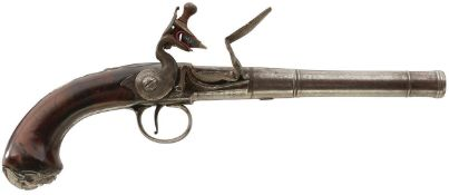A PAIR OF 20-BORE SILVER MOUNTED FLINTLOCK QUEEN ANNE PISTOLS BY NEWTON OF NOTTINGHAM, 5.5inch