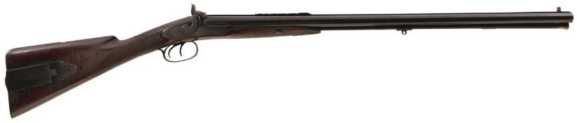 A DOUBLE BARRELLED PERCUSSION COMBINATION SPORTING GUN AND RIFLE, 30.25inch sighted damascus barrels