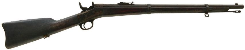 A SCARCE 50-70 OBSOLETE CALIBRE REMINGTON ROLLING BLOCK CARBINE, 25.5inch sighted barrel fitted with