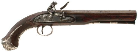 A 15-BORE SILVER MOUNTED FLINTLOCK DUELLING PISTOL BY H W MORTIMER & SON, 9inch sighted octagonal