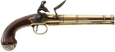 A 20-BORE SILVER MOUNTED QUEEN ANNE PISTOL, 7.5inch five-stage cannon barrel engraved LONDON at