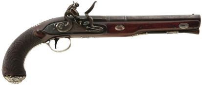 A CRISP PAIR OF 20-BORE SILVER MOUNTED FLINTLOCK DUELLING PISTOLS BY RYAN & WATSON, 9inch sighted