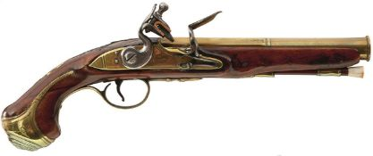 AN 18-BORE FLINTLOCK BRASS BARRELLED HOLSTER PISTOL BY GRICE, 7.25inch two-stage barrel with ring
