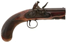A 32-BORE FLINTLOCK TRAVELLING PISTOL BY BLANCH, 3inch sighted octagonal browned damascus barrel