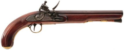 A 22-BORE FLINTLOCK HOLSTER PISTOL, 9.5inch browned barrel engraved LONDON on the top flat, border