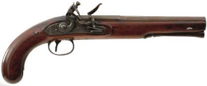 AN 18-BORE FLINTLOCK DUELLING OR HOLSTER PISTOL BY MANTON OF GRANTHAM, 9inch two-stage barrel
