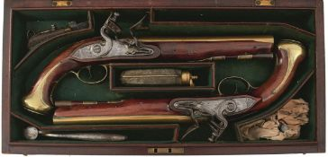A CASED PAIR OF 20-BORE BRASS BARRELLED HOLSTER PISTOLS BY BRANDER, 8.75inch barrels engraved