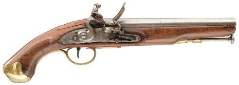 A .650 CALIBRE FLINTLOCK VOLUNTEER LIGHT DRAGOON PISTOL, 9INCH BARREL, border engraved bevelled lock