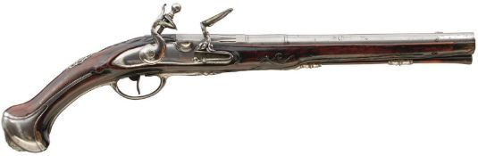 AN 18TH CENTURY 20-BORE FLINTLOCK HOLSTER PISTOL, 11.75inch three-stage sighted barrel, chiselled at