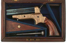 A CASED .32 RIMFIRE OBSOLETE CALIBRE FOUR BARRELLED SHARPS PISTOL, 3inch blued barrel engraved