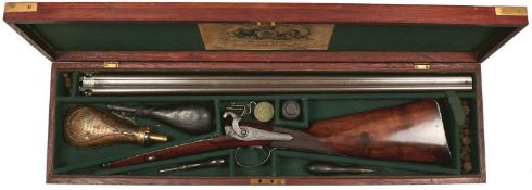 A CASED 15-BORE DOUBLE BARRELLED PERCUSSION SPORTING GUN BY JAMES WILKINSON, 29inch sighted damascus