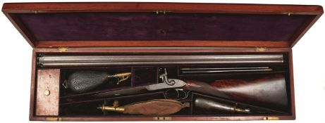 A CASED 14-BORE DOUBLE BARRELED PERCUSSION GAME GUN BY PATON OF PERTH, 31.5cm sighted damascus