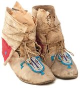 A PAIR OF 19TH CENTURY NATIVE AMERICAN INDIAN MOCCASINS, possibly Western Plains Arapaho, soft
