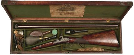 A CASED 20-BORE DOUBLE BARRELLED PERCUSSION SPORTING GUN BY SAMUEL NOCK, 29.75inch sighted