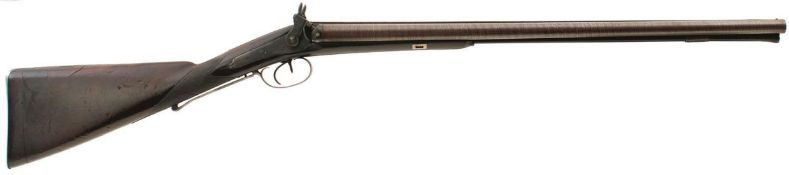 A 16-BORE DOUBLE BARRELLED PERCUSSION SPORTING GUN BY SAMUEL NOCK, 24.75inch sighted damascus