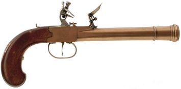 A 15-BORE BRASS BLUNDERBUSS PISTOL, 6.5inch barrel with ring turned muzzle, plain action, sliding