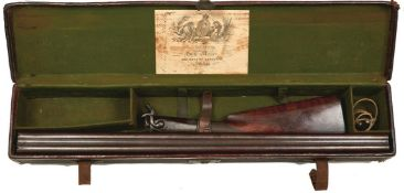 A 13-BORE DOUBLE BARRELLED PINFIRE SPORTING GUN BY BEATTIE, 29.75inch sighted damascus barrels