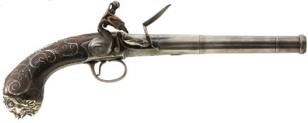 AN IMPRESSIVE 18-BORE SILVER MOUNTED QUEEN ANNE PISTOL BY WILLETS OF WEDNESBURY, 6.5inch turn-off