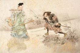THREE JAPANESE MEIJI PERIOD VIEWS, mixed media, depicting figures on a balcony, a falcon in a
