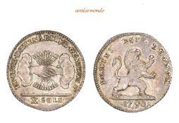 Belgien, Brabant, Belgischer Aufstand, 1789-1790, 1/2 Florin d'argent (10 Sols), 1790, feine Patina,
