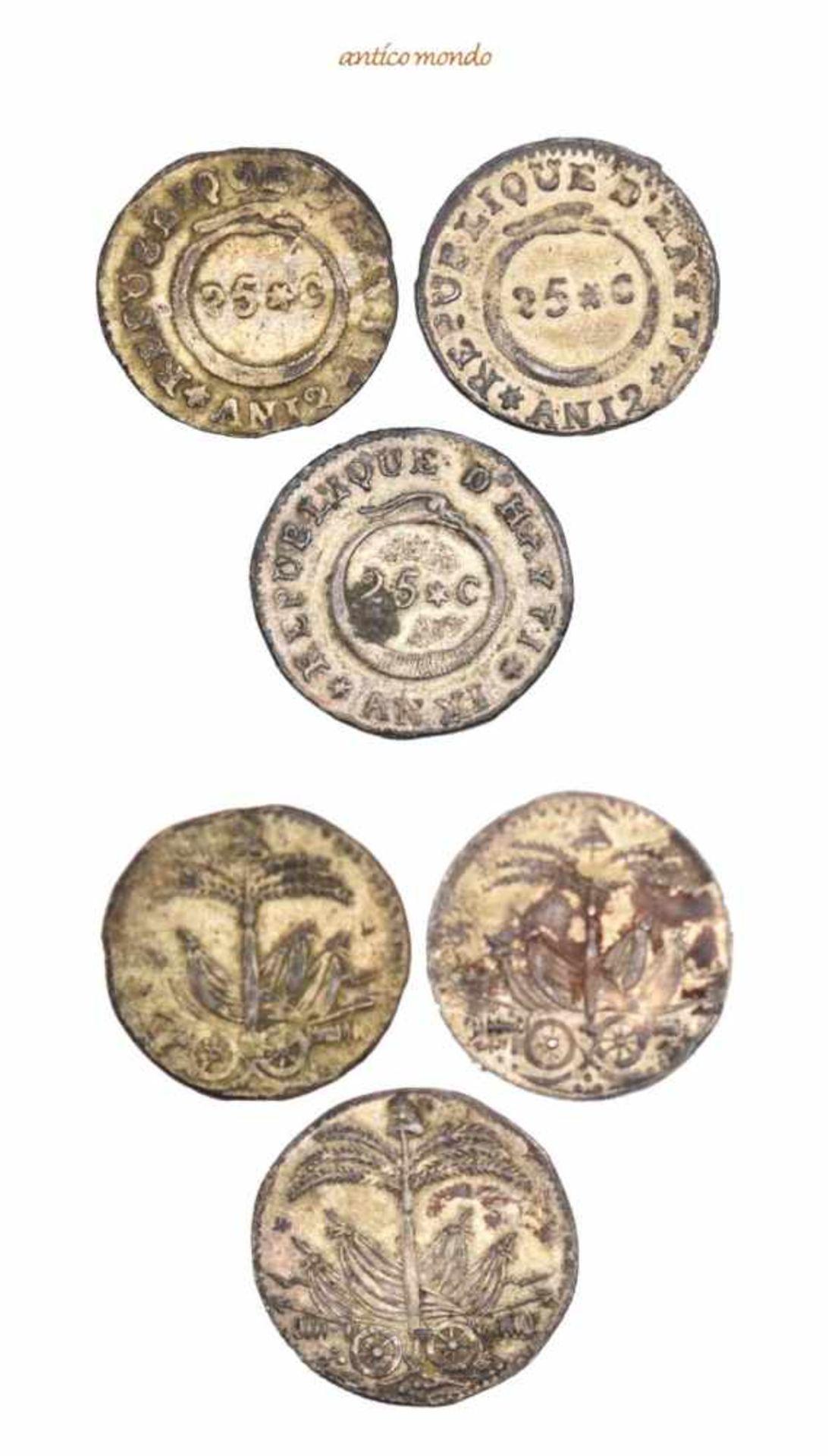 Haiti, Republik, 25 Centimes, 1814, 1815 (2x), sehr schön-vorzüglich, 3 Stück- - -21.50 % buyer's